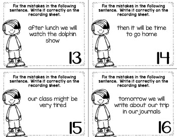 Editing Sentences Task Cards, Printables, Assessments