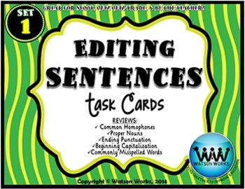 Editing Sentences Task Cards - Set 1