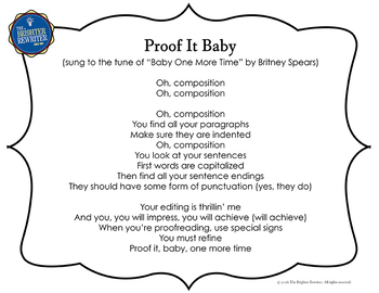 Writing Song Lyrics for Proofreading and Editing