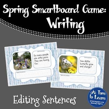 Editing Spring Themed Sentences for Smartboard or Promethean Board.