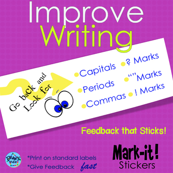 Writing Sticker for Punctuation, Editing and Revising