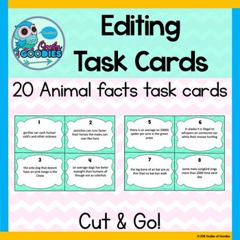 Editing Task Cards - Animal Facts