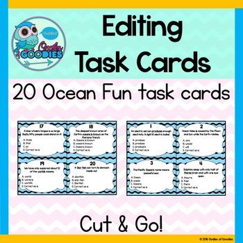 Editing Task Cards - Ocean Fun
