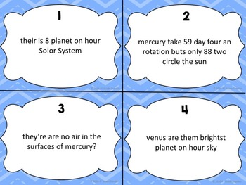Editing Task Cards - Planet Facts