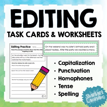 Editing Task Cards and Worksheets - capitalization, punctuation, spelling + more