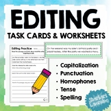 Editing Task Cards & Worksheets - Capitalization, Punctuation, Homophones + more