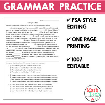 Grammar Practice - Editing Tasks