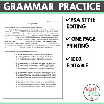 Editing Tasks: Vol 2, Grammar Practice 1