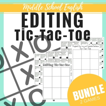 Editing Tic-Tac-Toe - Middle School ELAR - Bundle