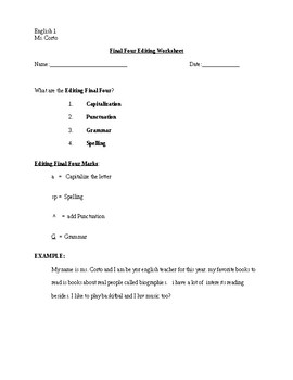 Editing Worksheet- Final Four Strategy