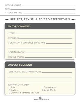 Editing Worksheet for Montessori Writing Workshops