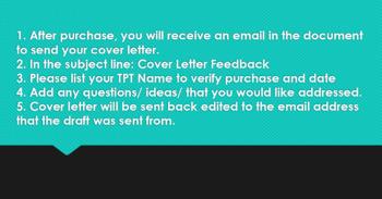 Teacher Cover Letter - Editing