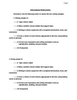 Editing activity- Informational writing sample