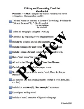 Editing and Formatting Checklist for Writing
