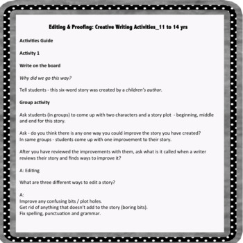 Editing and Proofing: Creative Writing Activities for 11 to 14 yrs
