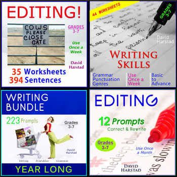 91 Editing and Proofreading Worksheets + 223 Writing Prompts