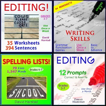 91 Editing and Proofreading Worksheets + 70 Spelling Lists