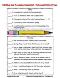 Editing and Revising Checklist for Personal Narratives (grades 3-5)