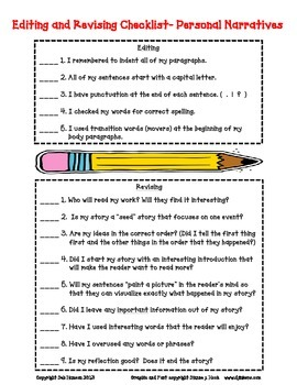 narrative writing checklist