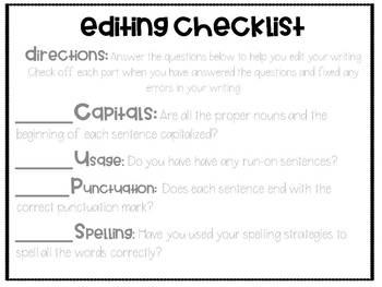 Editing and Revising Checklists