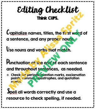 Editing and Revising Checklists - Writing