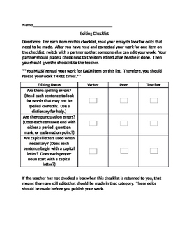 Editing and Revising Checklists for Students