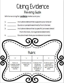 Editing and Revising Rubrics and Lesson Plans - Written Responses