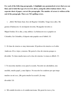 Editing and Revising Paragraphs in Spanish