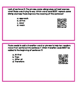 Editing and Revising QR Codes- Task Cards