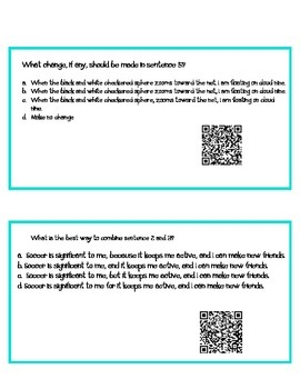 Editing and Revising QR Codes- Task Cards- 15 questions