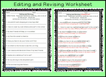 Editing and Revising Sentences Printable Worksheet