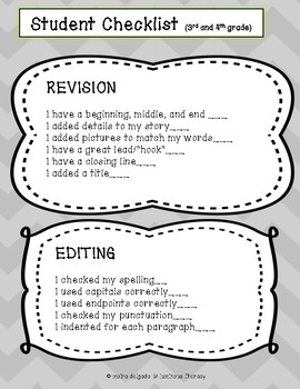 Editing Checklist and Publishing Paper for Narrative Writing