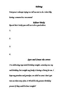 Editing and Spotting Errors Worksheet