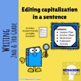 Editing capitalization in a sentence (CCSS W.2.5, L.K.2.a,
