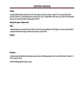 Editing helper worksheet