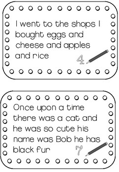 Editing writing task cards for spelling, punctuation, capital uppercase letters