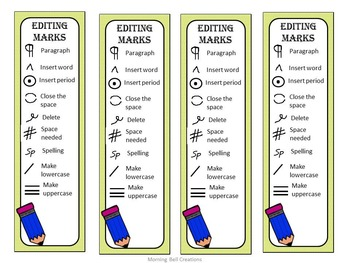 Editing/Proofreading Bookmarks for Young Writers