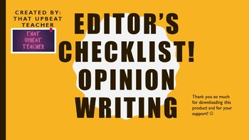 Editor's Checklist for Opinion Writing
