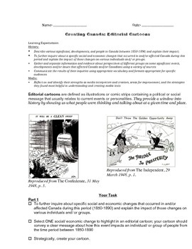 Editorial Cartoon Literacy/ History Task