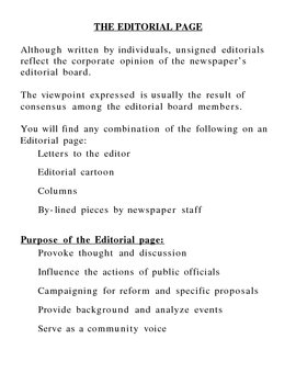 Editorial Page Overhead note, worksheet, and quiz