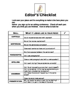 Editor's Writing Checklist
