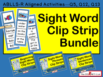 Sight Word Clip Strip Level 1 Bundle: Sight Words, Phrases