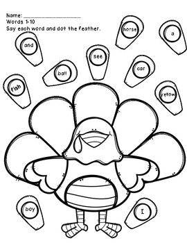 Sight Words: Say and Dot Turkey Worksheets