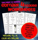 Edmark Materials: NO PREP 4 Square Worksheets SET 1 : color, match, spell, fill.