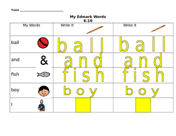 Tracing Words 16-20
