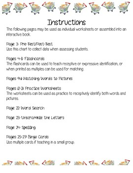 Edmark Functional Words Series {Grocery Words 61-70 Activities}