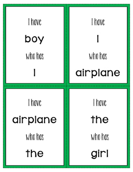 Special Ed Sight Word Game