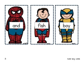 Superhero Sight Word Cards (150 words)