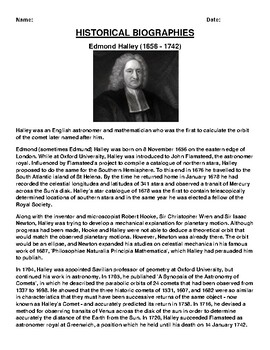Edmond Halley Biography Article and (3) Assignments