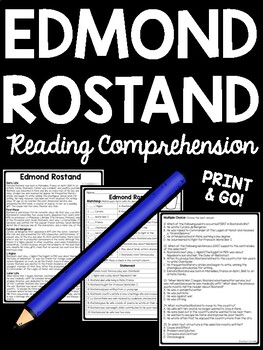 Edmond Rostand Biography Reading Comprehension; Cyrano de